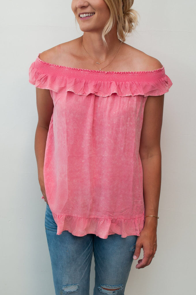 Off-Shoulder Mineral Washed Top