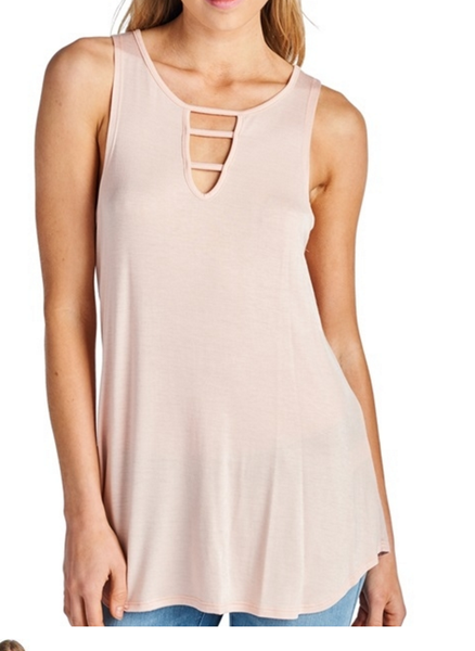 Cross Neck Detail Tank - Pink/White Options