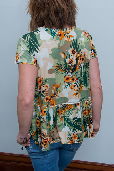 Tropical Print Top with Ladder Detail