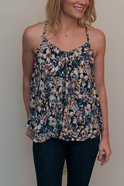 Floral Tank - Navy