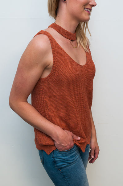 Mock-Neck Sleeveless Sweater