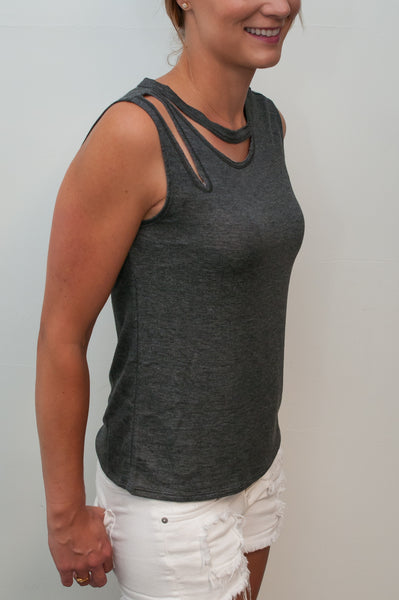 Sleeveless Top with Ripped Shoulder and Neck Detail - Grey