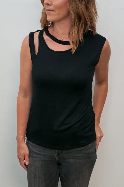 Sleeveless Top with Ripped Shoulder and Neck Detail - Black