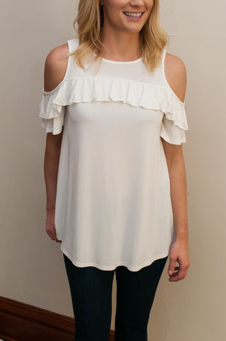Cold Shoulder Ruffle Top - 2 Colors