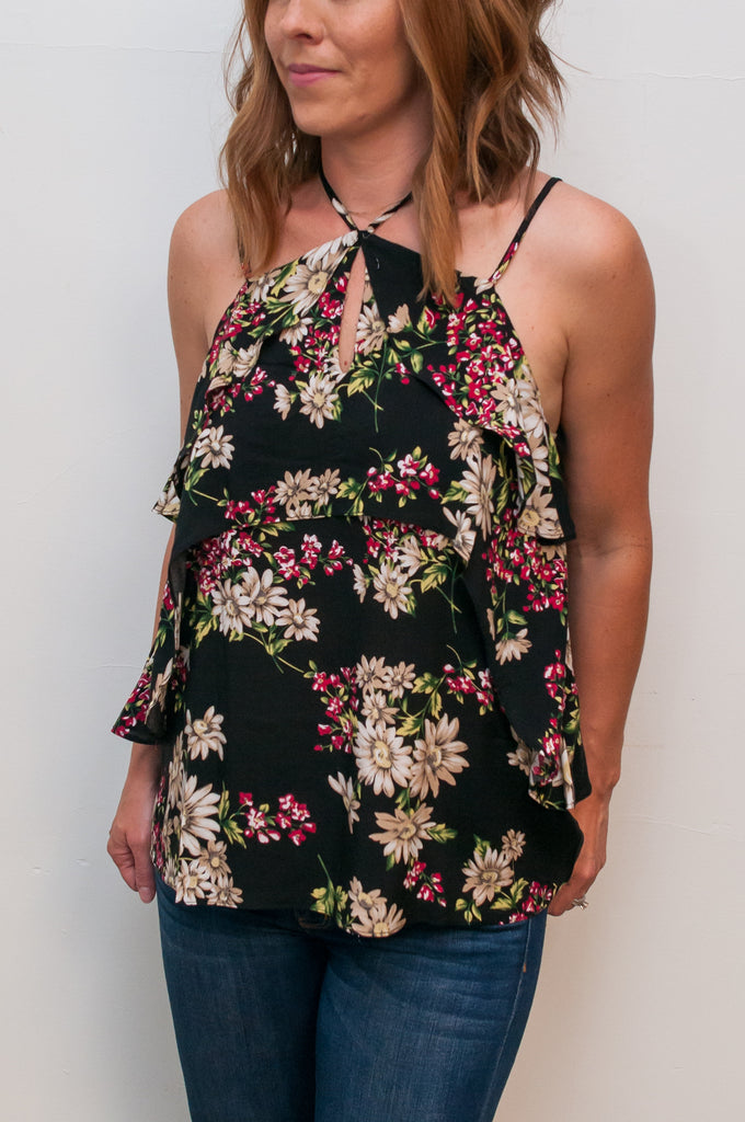 Versatile Floral Print Double Layer Sleeveless Tank