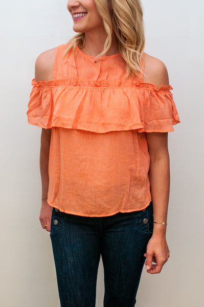 Ruffle Cold Shoulder Top - Tangerine