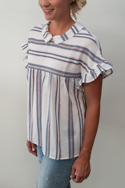Striped Babydoll Top with Collar