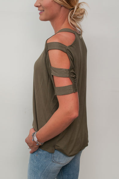 Ladder Cutout Drop Sleeve Top - Olive