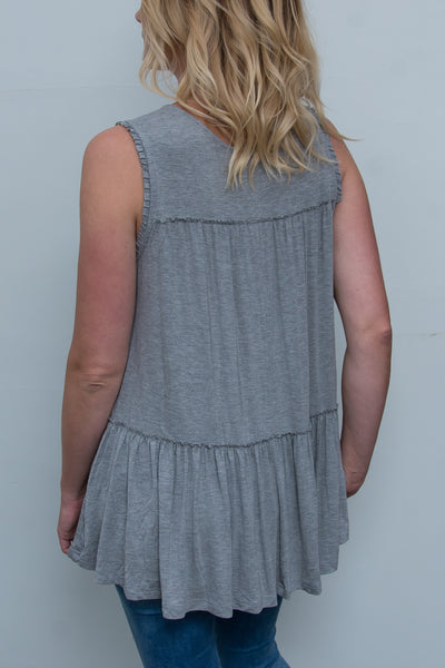 Raw Edged Ruffle Tank