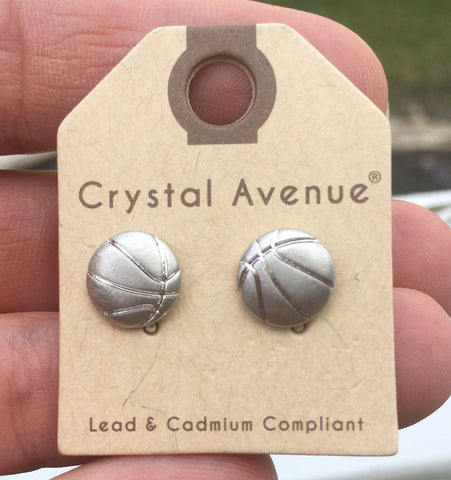 Metallic Basketball Stud Earrings - Silver