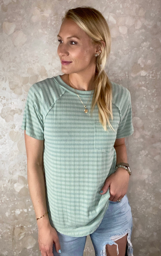 Textured Striped Pocket Tee
