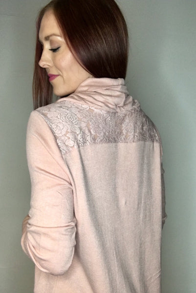 Lace Detail Cowl Neck Sweater