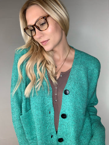 High-Low Cardigan - Jade
