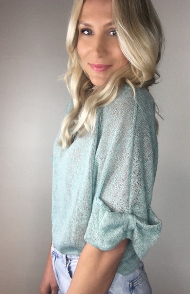 Lightweight Knit Bow Sleeve Top
