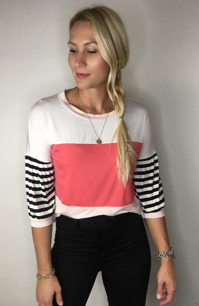 Colorblock Top with Striped Elbow Sleeve