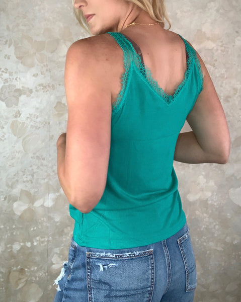 Lace Trim Basic Tank - Jade