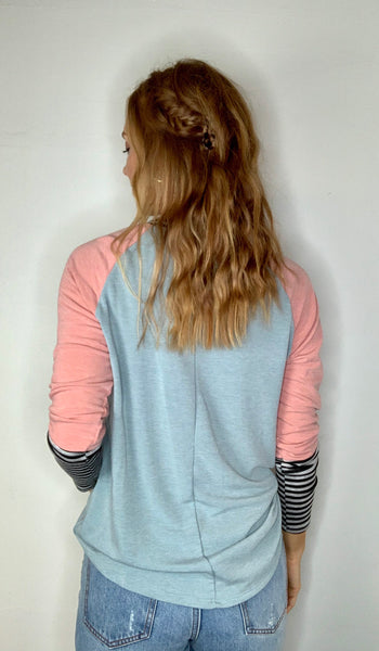 Colorblock Top with Striped Detail