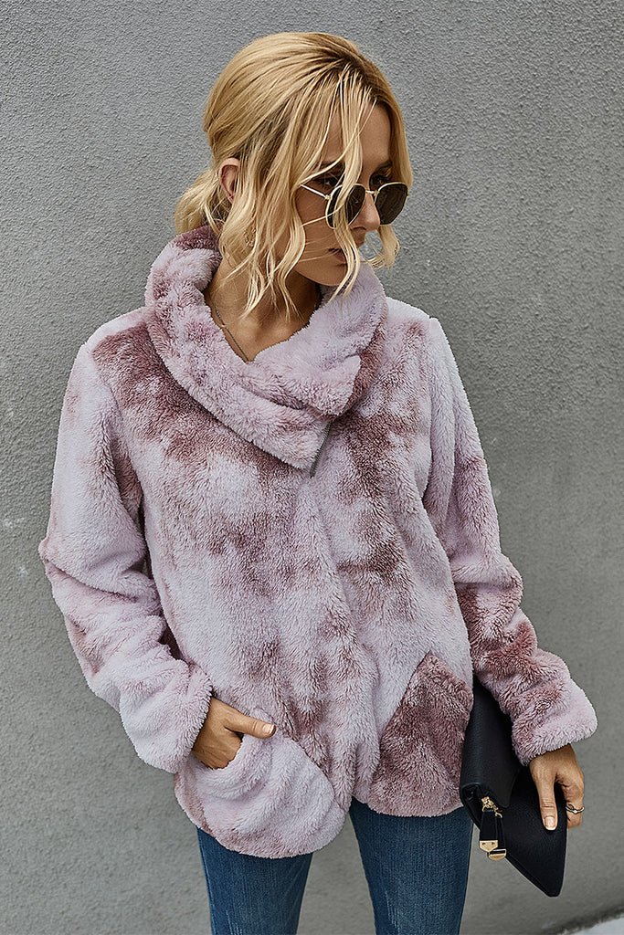 Cozy Marbled Fleece Pullover - Mauve