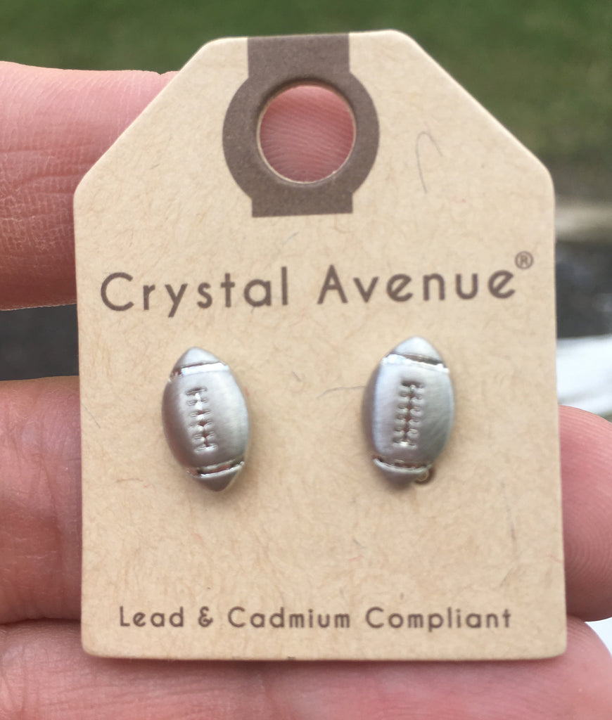 Metallic Football Stud Earrings - Silver