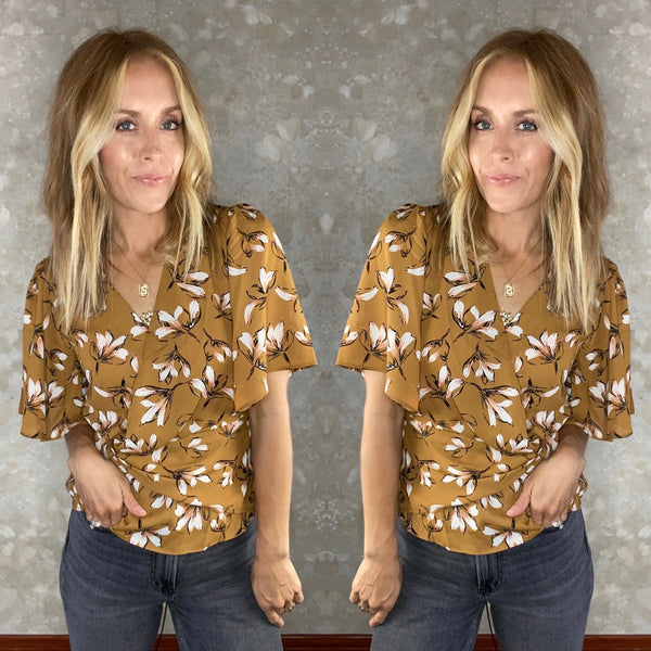 Fall Floral Wrap Blouse