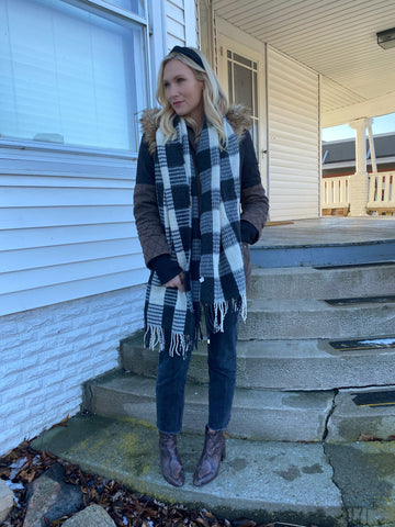 Buffalo Plaid Scarf - Black