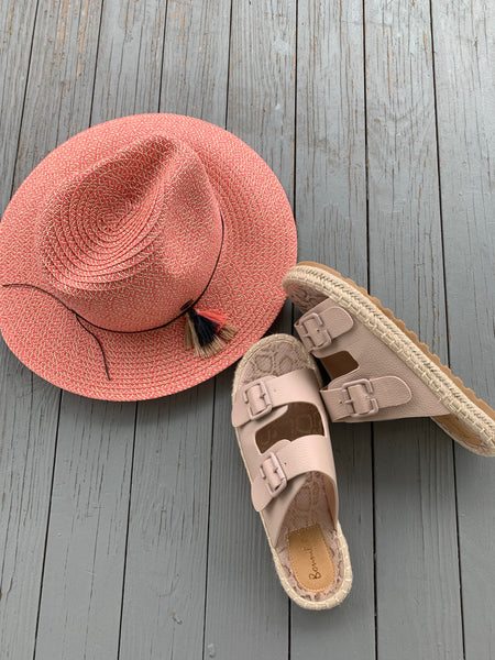 Wide Brim Fedora - Blush