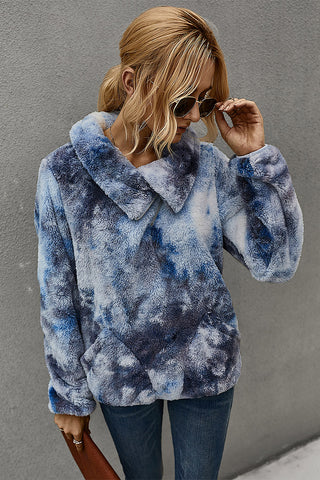 Cozy Marbled Fleece Pullover - Navy