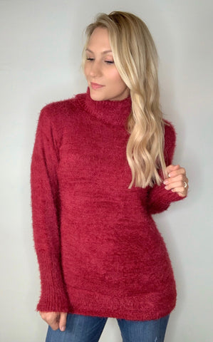 Vegan Fur Turtleneck Sweater-Berry Wine