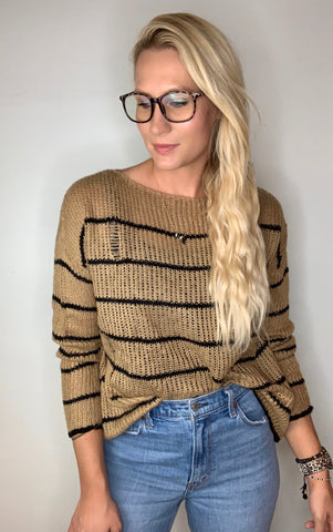 Distressed Lightweight Striped Sweater