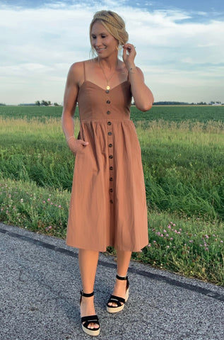 Versatile Dress with Button Detail - Tan