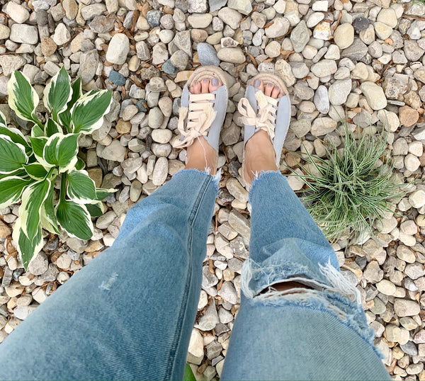 Chunky Lace Espadrille Slides