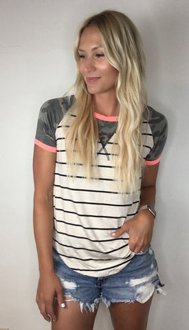 Striped Tee with Camo Print Details