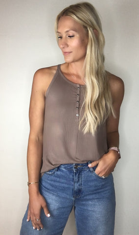 Ribbed Henley Essential Tank - Sand