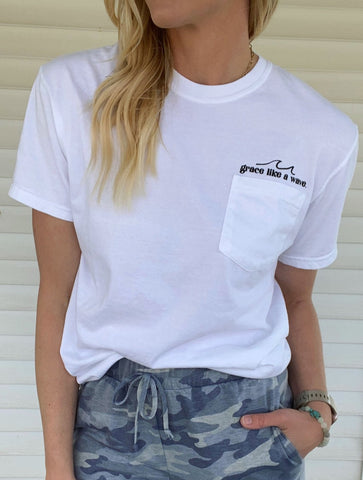 """Grace Like a Wave"" Graphic Pocket Tee"