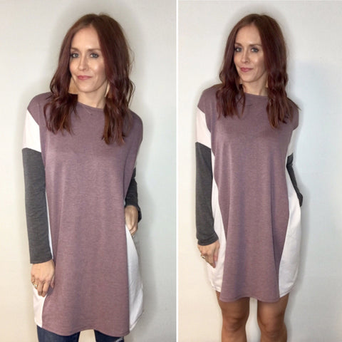 Colorblock Tunic Dress with Pockets