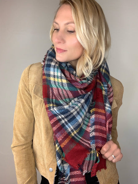 Plaid Scarf - Burgundy