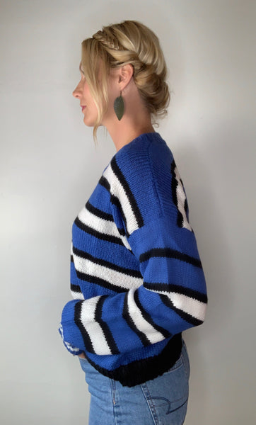 Bold Blue Striped Sweater