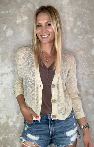 Lightweight Slouchy Cardigan - Ivory