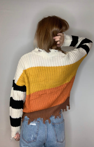 Multi Striped Distressed Sweater
