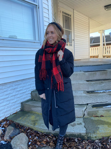 Buffalo Plaid Scarf - Red
