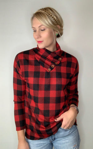 Buffalo Plaid Top with Button Detail