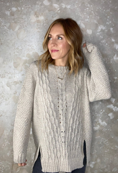 Cable Knit Tunic Pullover