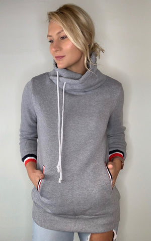 High Funnel Neck Pullover-Grey