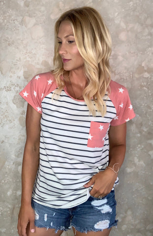 Color Block Stars and Stripes Tee