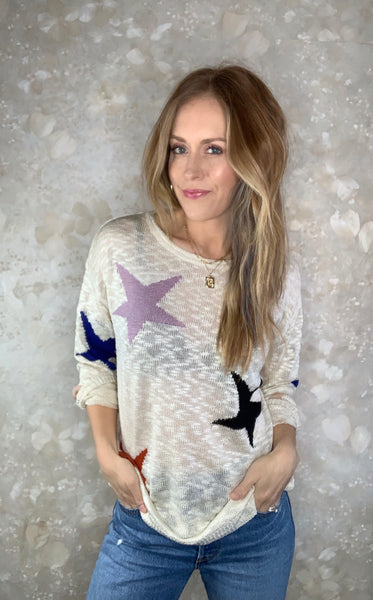 Lightweight Knit Star Pullover
