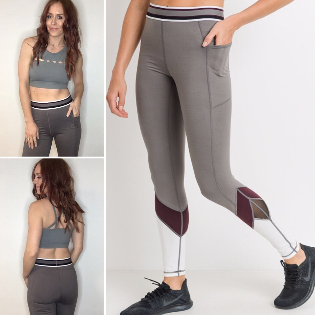 High Waisted Legging with Mesh Detail