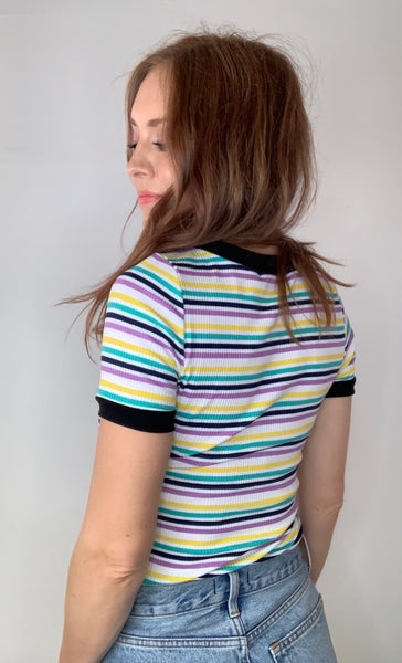 Pastel Striped Ribbed Tee