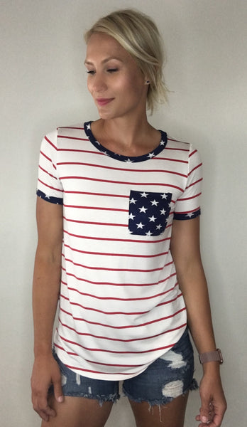 Striped Tee with Stars Detail