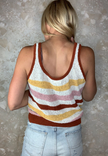 Knit Striped Sleeveless Top