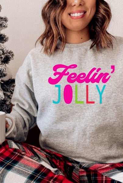 Holiday Graphic Sweatshirt - Feelin' Jolly